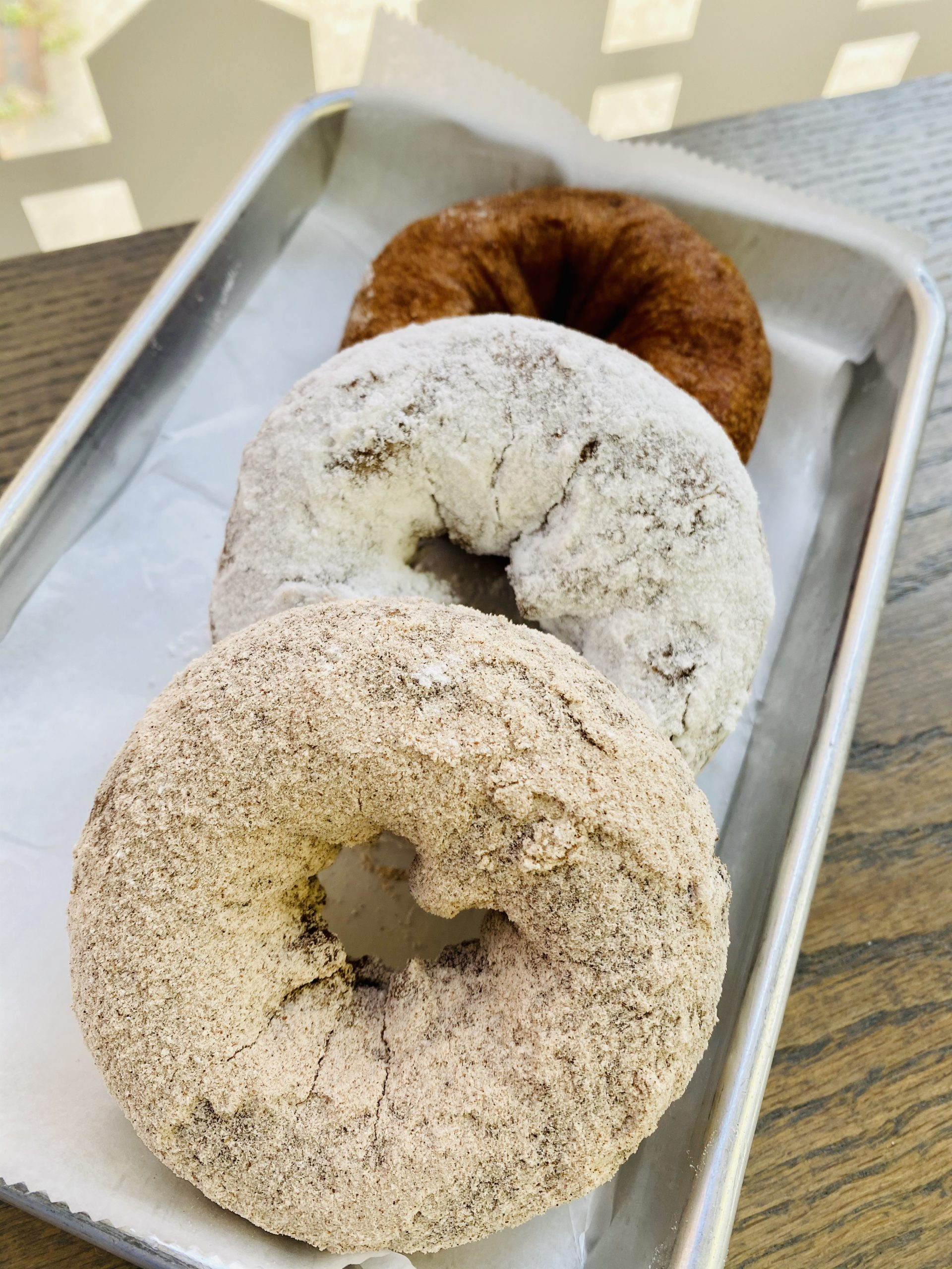 Apple Cider Donuts-12 donuts- 4 cinnamon, 4 powder  and 4 plain