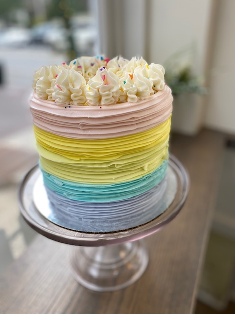 Rainbow Ribbons with Crown upgrade(6in)- add on- please purchase with a cake