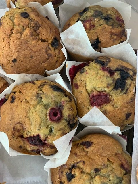 Muffin Madness- 3 Flaxseed, Raspberry and blueberry muffins and 3 Gluten Free Chocolate Chip Muffins