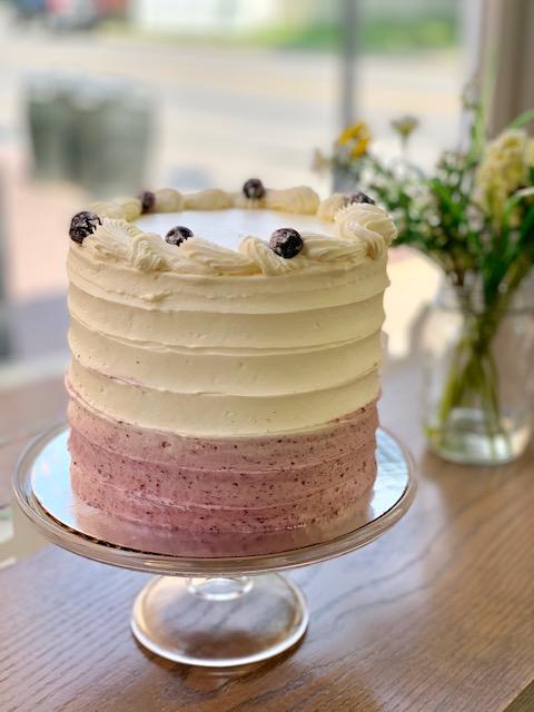 Lemon Blueberry Love Cake -white fluffy light lemon cake filled with fresh blueberries and a sweet and tart lemon blueberry filling