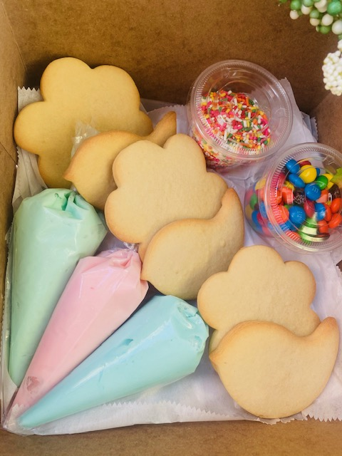 FUN Time Spring Decorating Cookie Kit- 6 flower and bird cookies, 3 buttercream and lady to decorate